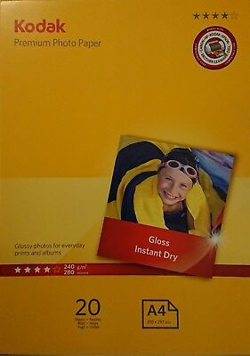 Kodak Premium Photo Paper Gloss Instant Dry 20 Sheets A4 210x297mm 240gsm