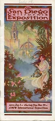 1916 San Diego Ca Exposition Brochure 2 Fold Outs  The Plaza De Panama 9 X 4 In