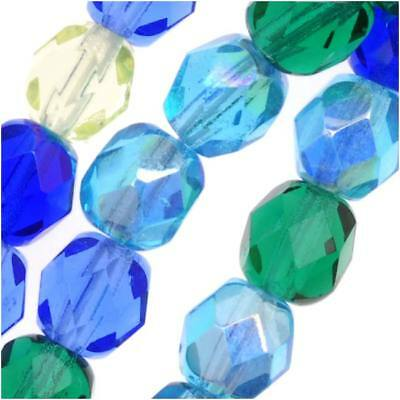 Czech Fire Polished Glass Beads 6mm Round 'Lagoon Blue Green Mix' (50 Pieces)