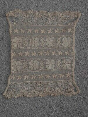 """Antique Lace panel very old 11""""x 8"""" deicate design for curtains Bliss doll house"""