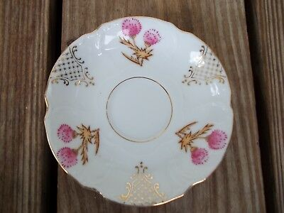 Vintage White Pink Floral Gold Saucer Plate Japan Scalloped Edge Gold Trim  Exc