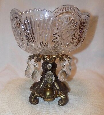 "Antique  Heavy Cut Glass  Crystal Bowl Prisms Gold Bronze Stand 10"" tall RARE"