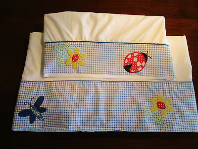 Youth Bed Sheet & Pillowcase Blue Gingham w/Flowers, Butterfly, Lady Bug & More