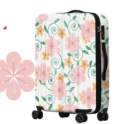 A653 Lock Universal Wheel Flowers Travel Suitcase Cabin Luggage 20 Inches W