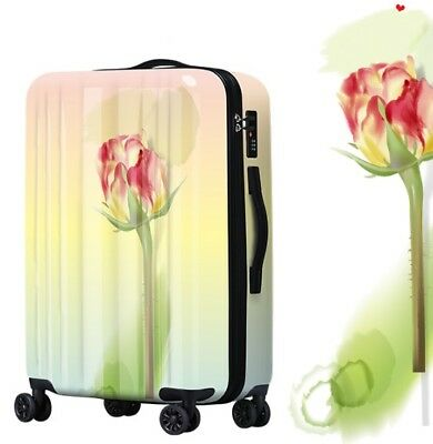 A638 Lock Universal Wheel Flower Pattern Travel Suitcase Luggage 20 Inches W