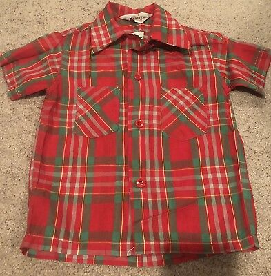 Vintage 1960's Penney's Boys Red Plaid Button Down Shirt Dan River Cotton Size 4
