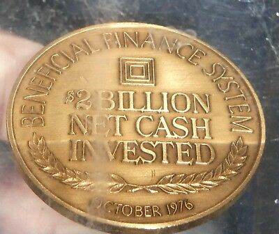 BENEFICIAL FINANCE SYSTEM $2 BILLION NET CASH INVESTED October 1976 Promo Coin
