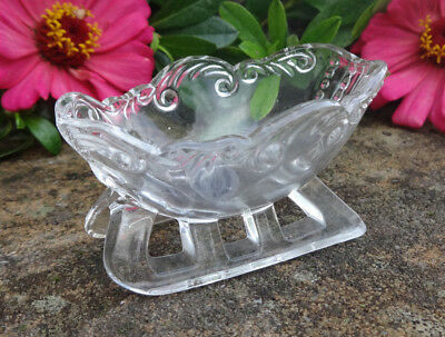 Small Fostoria Glass Sled/Sleigh Open Salt Dip, Cellar, Dish--Ed Berg Salt!