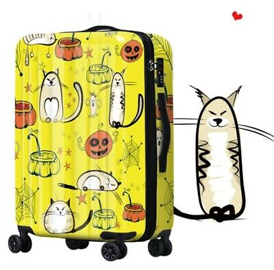 A190 Cartoon Cat Universal Wheel ABS+PC Travel Suitcase Luggage 20 Inches W