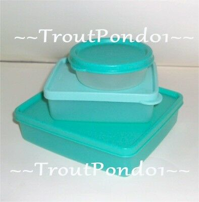Tupperware Sandwich Keeper Cool Aqua Square Away + Mini Half Snack Cup