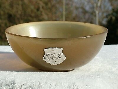 1920's WILLIAM DUNNINGHAM SILVER MOUNTED SCOTTISH COW HORN DRINKING BOWL
