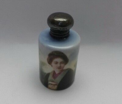 "Antique Porcelain Painted 2"" Japanese Lady Perfume/Snuff Bottle, Hallmarked Cap"