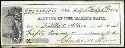Check:  Cashier Of The Marine Bank, 1858, New Bedford, Whaling Vignette To Left
