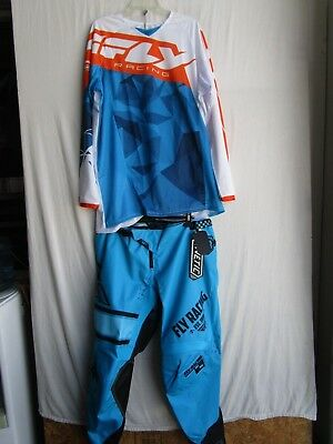 FLY KINETIC Men's motocross combo set,ERA pants 40,MESH jersey 2XL blue/orange