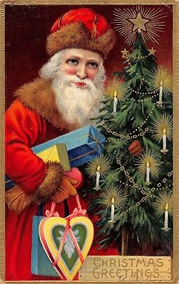 LP78 Santa Claus Christmas Collectible Postcard Holiday Red Suit Fur Trim gifts
