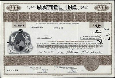 Mattel, Inc., Iconic Toy, Electronic Company, Cancelled Stock Certificate
