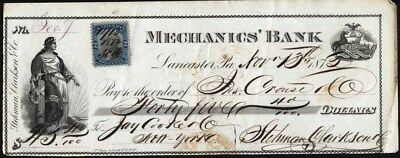 Mechanics' Bank, Lancaster, Pa, 1872 With Rev. Stamp Affixed