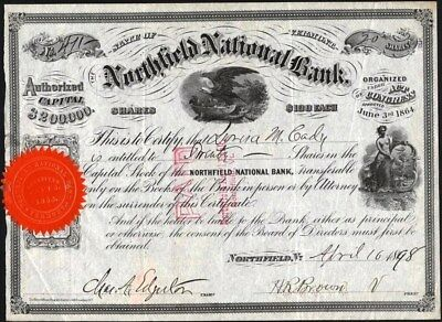Northfield National Bank Of Vermont, 1898 Cancelled Stock Certificate