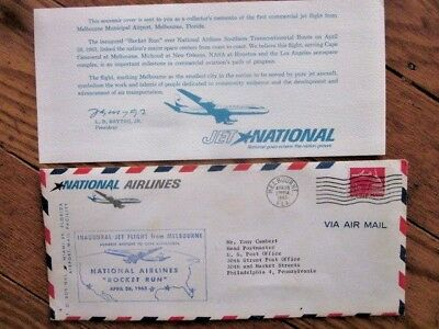 National Airlines 1963 Rocket Run Cape Canaveral Melbourne To Los Angeles Cover+