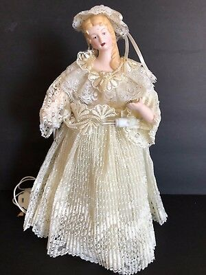 Vintage ROC Porcelain Victorian ivory colored lighted 10.5 in Angel Tree Topper