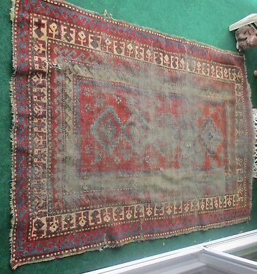 Antique primitive Distressed Oriental Rug Carpet Worn to perfection.As-Is