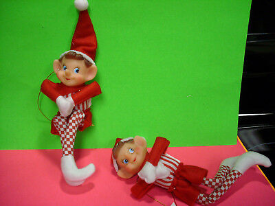 2 pixie vintage style elf ornament knee hugger felt xmas LOT 9""