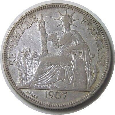 elf French Indo China 1 Piastre 1907 A Silver