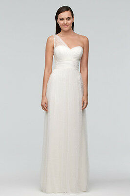 NEW WATTERS White Lori One Shoulder Empire Sequin Tulle Gown Dress 8 US WEDDING