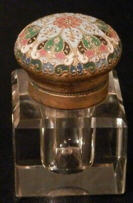 OLD ANTIQUE vintage Enamel Metal and GLASS Inkwell Probably European