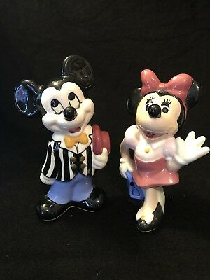 Pair of Vintage Walt Disney Mickey & Minnie Mouse Ceramic Coin Bank Figurines