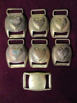 Lot of 6 Old Horse Brass Harness Pieces with Hearts + 1 Other