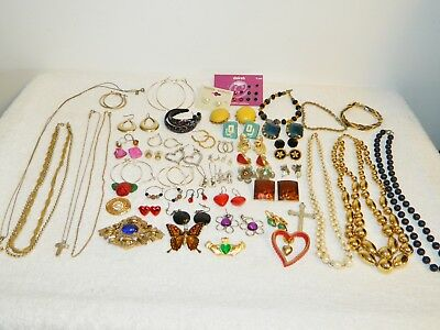 Lot of Vintage to Now Costume Jewelry Necklaces Clip On Earrings Brooch Pin #G