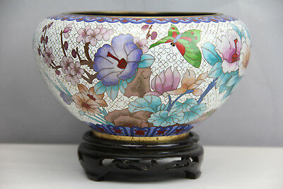 Vintage Chinese Asian Cloisonne Bowl Flowers Butterfly Tree Wood Stand Brass