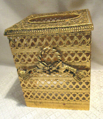 Vintage Ormolu Gold Filigree Square Kleenex/tissue Holder With Bow