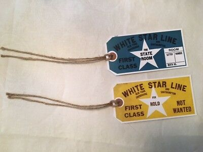 White Star Line Titanic First Class Luggage Tags!! Rare Circa 1912 Style Tags!!
