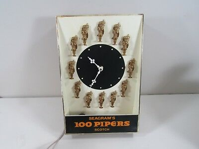 Seagram's Seagrams Hard Plastic 100 Pipers Light Lighted Sign Clock ~ Works!