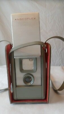 Vintage Ansco Anscoflex Camera with Green Leather Case
