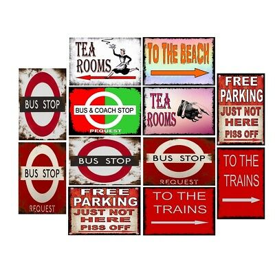 Retro Metal Tin Signs To The Beach Vintage Plate Bus & Coach Stop Art Wall Decor