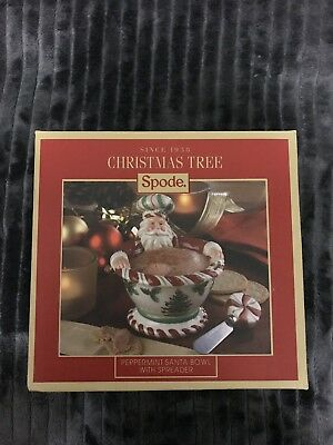 "Spode Christmas  Tree ""peppermint"" Santa Bowl With Spreader!"