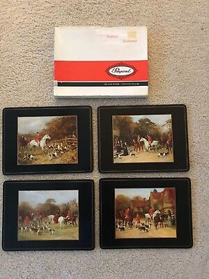 Home Decor-Pimpernel 9x12 Placemats-Herring Fox Hunt Scenes-NEVER USED-w/Box