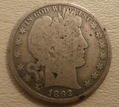 1892 P Barber Half Dollar U.S. Silver Coin - free shipping and no reserve!