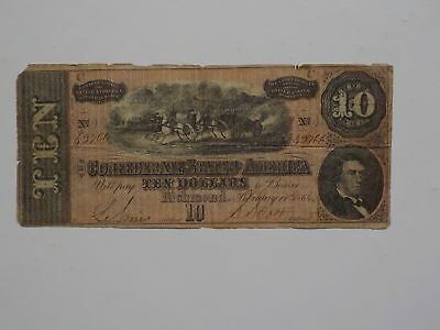 Civil War Confederate 1864 10 Dollar Bill Richmond Virginia Money Currency