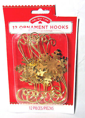 "(12) gold metal Christmas ornament hooks 3.25"" long S shaped with snowflake"
