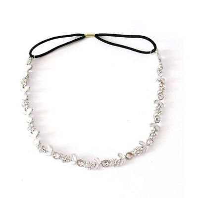 Women Silver Rhinestone Flower Hair Band Elastic Headband bridal headband