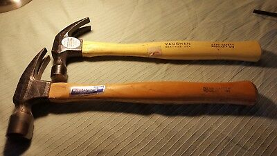 """2 small Vaughan Claw Hammers Wood Handle Very Good 13"""" Long"""