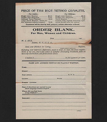 OPC 1900's W.S. Rice Rupture Cure Order Form Seperations on Folds