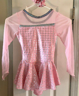NEW ice figure skating dress costume twirler/dance/roller tot size 6 pink/silver