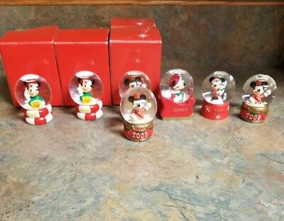 Disney JCPenney Mickey Mouse Christmas Mini Snow Globe Lot of 7 ( Duplicates )