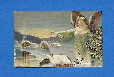 Blond Angel Holds Christmas Tree Hover Overing Town Embossed Postcard. Lovely!