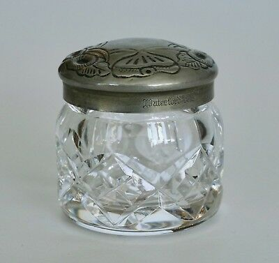 Vintage MARKED Waterford Silver Plated Lid Cut Crystal Glass Trinket Box
